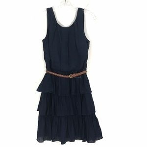 ALLOY Sleeveless Tiered Belted Dress Pintuck NEW